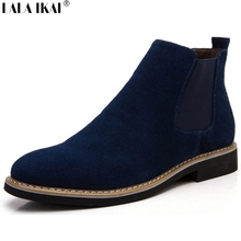 The Chelsea Boot Men Suede Hombre Martin Boots Low Heel Nubuck Leather Ankle Boots Vintage Sewing Thread Britain Botas XMG0114-5(China (Mainland))