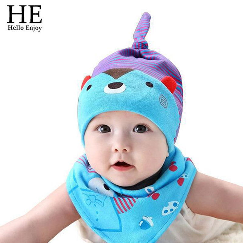 Newborn Baby hats for girs and boy summer style Cute cartoon bear 5 colors hat + Department neck saliva with scarf new 2015 Hot<br><br>Aliexpress