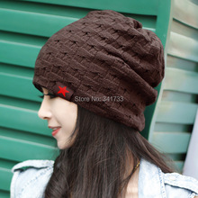 new reversible knitted beanie hat cap winter women hat beanie Women Skull Chunky Baggy Warm Cap,WTL(China (Mainland))