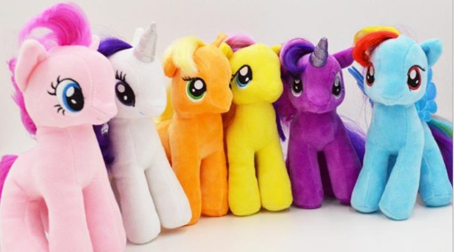 2015 Hot Free Shipping Plush Unicorn Horse Stuffed Animals Toys 18cm Baby Infant Girls Toys Birthday Gift Rainbow Dash 6 Colors(China (Mainland))