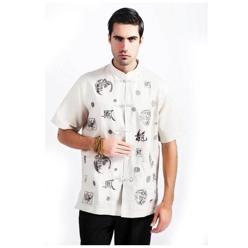 Beige Chinese Traditional Men Kung fu Shirt Cotton Linen Shirt Summer Short Sleeve Tops Dragon Size M L XL XXL XXXL MS064Одежда и ак�е��уары<br><br><br>Aliexpress