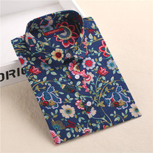Brand New Long Sleeve Cotton Floral Shirts Lapel Vintage Women Shirts Casual Bohemia Woman Blouses Plus Size Blusas Mujer S-5XL(China (Mainland))