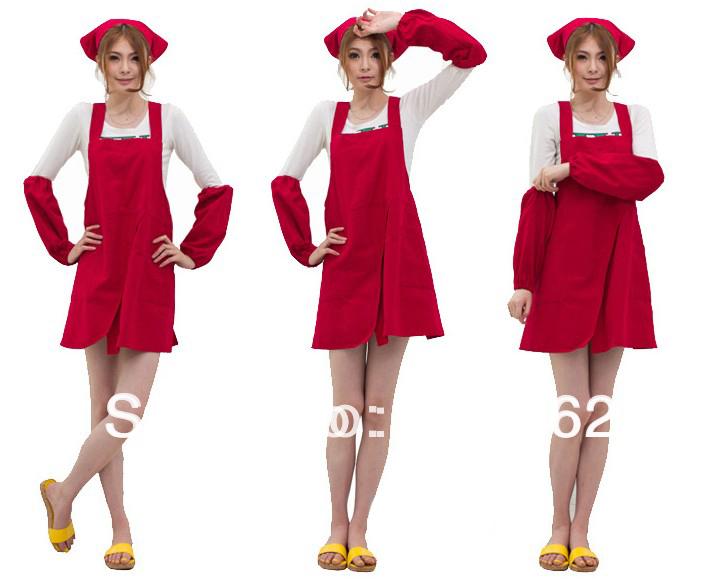 Brand new Wholesale10PCS fashion Adult Women Adjustable Aprons Pure Cotton Working Kitchen Cook waitress Apron front slit(China (Mainland))