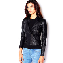Leather Jacket Women Biker Motorcycle Soft Leather Jackets Lady Stand Collar PU Coat Outerwear Jaquetas De Couro Feminina Coat()