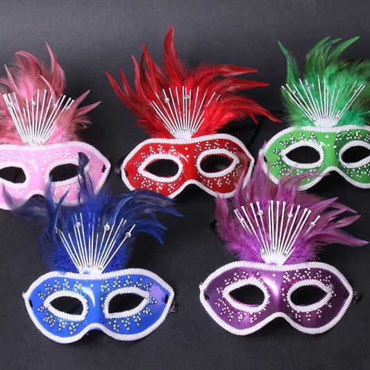 2015 New Arrival Kids Feather Half Face Mask Party PrincessToy Brand Fashion Dance Mask Children Popular Gift 5 PCS/Lot, RI072(China (Mainland))