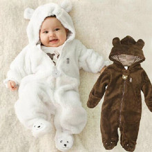 retail  newborn Carters coral fleece long sleeve hooded romper, baby girls boys jumpsuit autumn&winter newborn toddle clothing(China (Mainland))