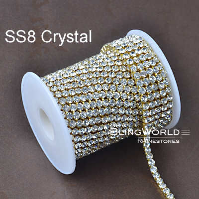 10 Yards Amazing Accessories Strass Chian SS8 Clear Crystal Densify Rhinestone Cup Chain(China (Mainland))