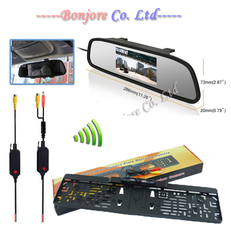Parking Assistance System 4.3 Digital LCD Mirror Car Monitor 2.4G Wireless Infrared Europe License Plate Frame Rear view Camera(China (Mainland))
