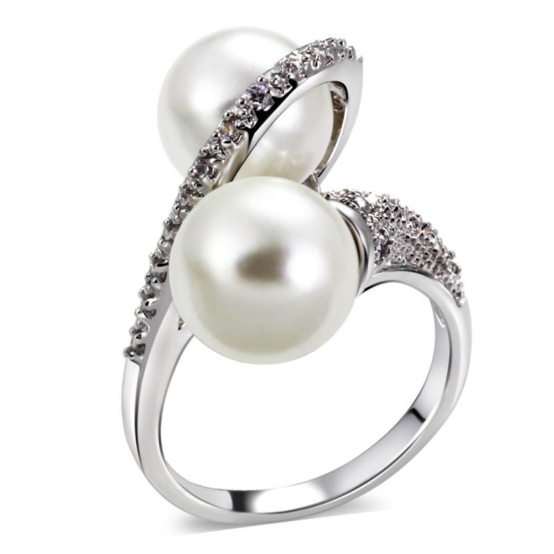 New Design Twins Pearl Women Ring Deluxe Imitation Pearl Cubic Zircon Setting Platinum Plated Lead Free Bridal Wedding Jewelries(China (Mainland))