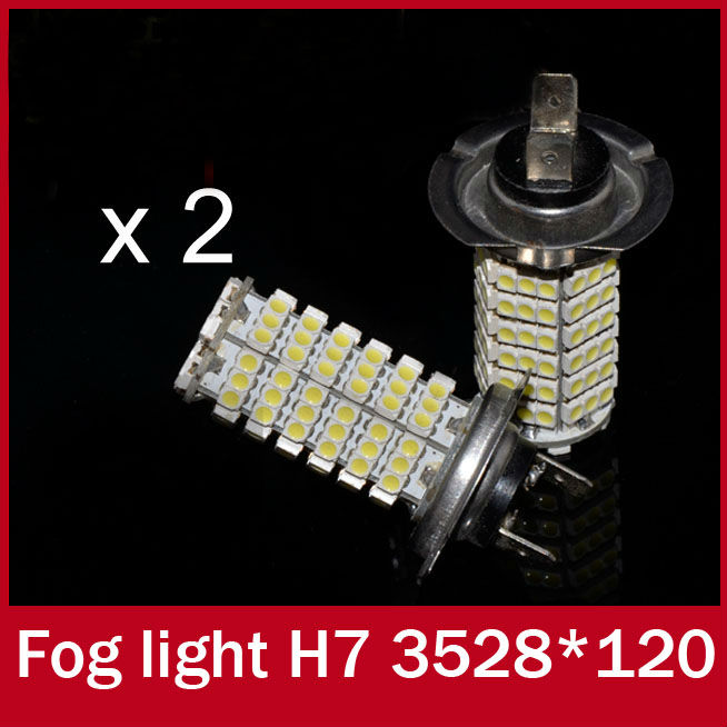 2 x Hot Sales 120 SMD H7 Car Automotive Day Running Light LED DRL Lamp Socket Rear Fog Lamp Bulb White for Mercedes Benz(China (Mainland))