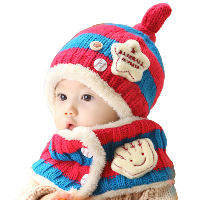 Free Shipping Hat And Scarf Children's Knitted Winter Hat Baby Hat Ear Cap Baby Bib Suit Suitable 6-48 Months Baby 2Pcs/1Set(China (Mainland))
