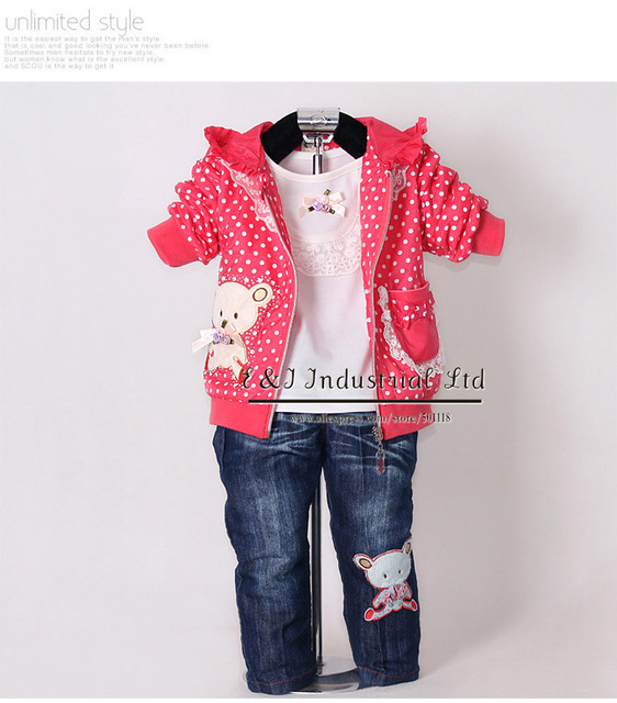 Fashion Baby Clothing Set 3 Pcs Hot Pink Hoodies And Kids T Shirt AndJeansPants Girls Spring Wear Children ClothesCS30202-06^^EI