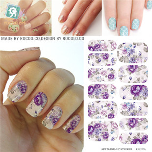 K5707B Water Transfer Nails Art Sticker Gray Purple Flowers Design Nails Foil Sticker Minx Harajuku Fashion