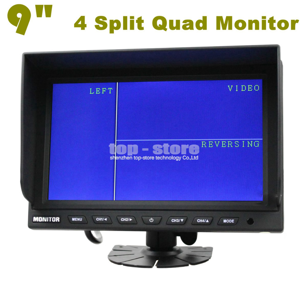 High Quality 9 Inch Split Quad Display Color Rear View Monitor Car Monitor For Car Truck Bus Reversing Camera(China (Mainland))