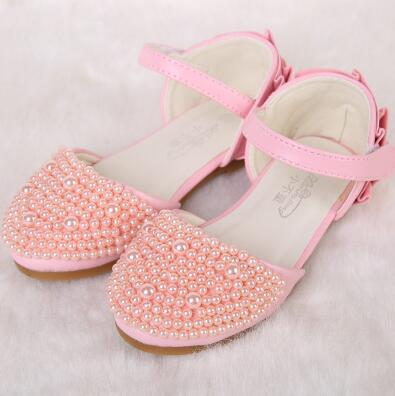 2016 new girls Shiny Pearls kids Wedding Party shoes Summer kids Sandals girls Princess Shoes children's high heels shoes(China (Mainland))