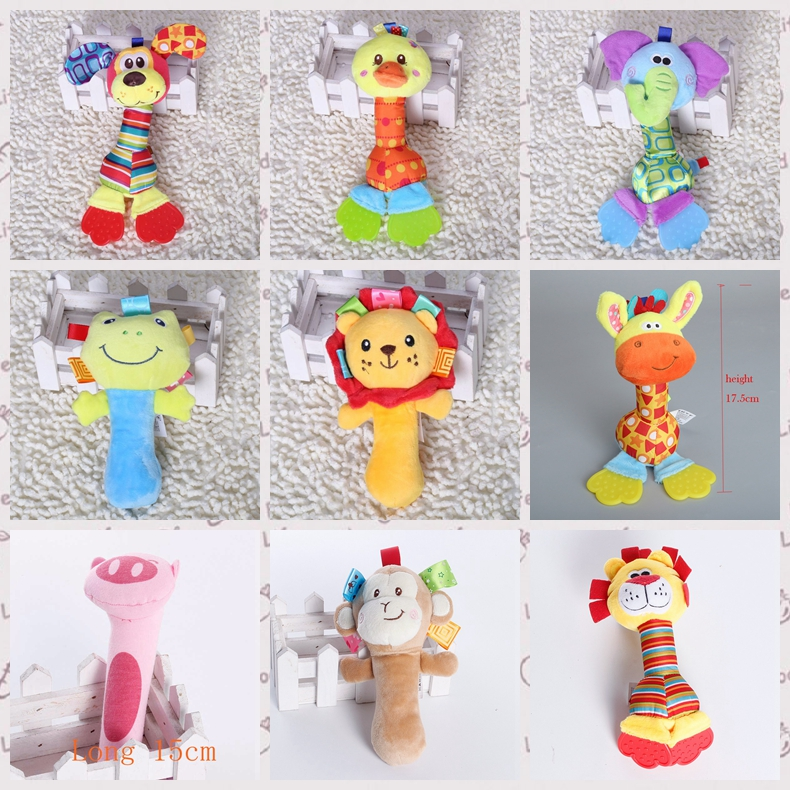 Cute animal toys Baby Rattle Toys Hand Bells Plush Baby Toy Newbron bebe Rattle Squeaker Cute Cartoon Animal Musical T7223(China (Mainland))