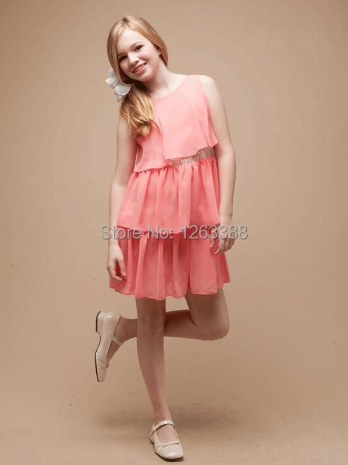 Free Shipping Coral Princess Scoop Straps Chiffon Girl Pagenant Dresses Sash Tiers Short Mini Short Skirt Custom Size(China (Mainland))