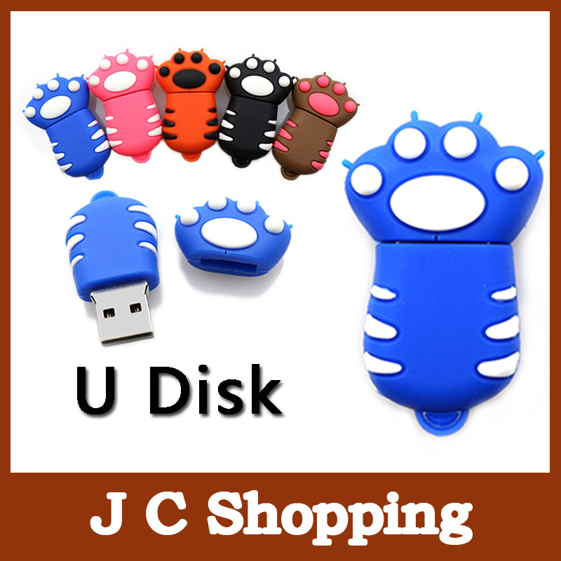 Pen drive bear paw USB Flash Drive kitty hand Lovely Paw U Disk memory stick pen drive Wholesale 4GB 8GB 16GB 32G free shipping(China (Mainland))