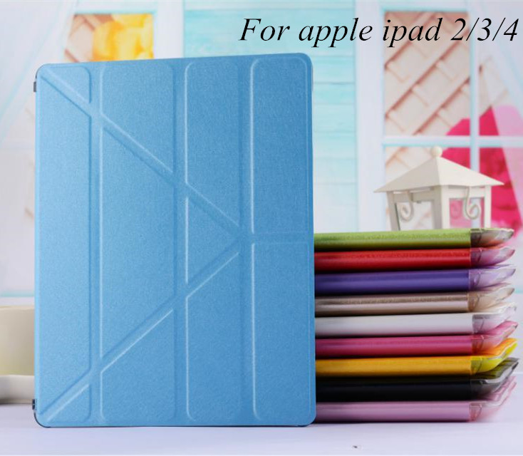 New Ultrathin Smart Luxury pu Leather Transparent Clear Back Case For Apple ipad 2/3/4 Retina Accessories Stand Cover for ipad 4(China (Mainland))