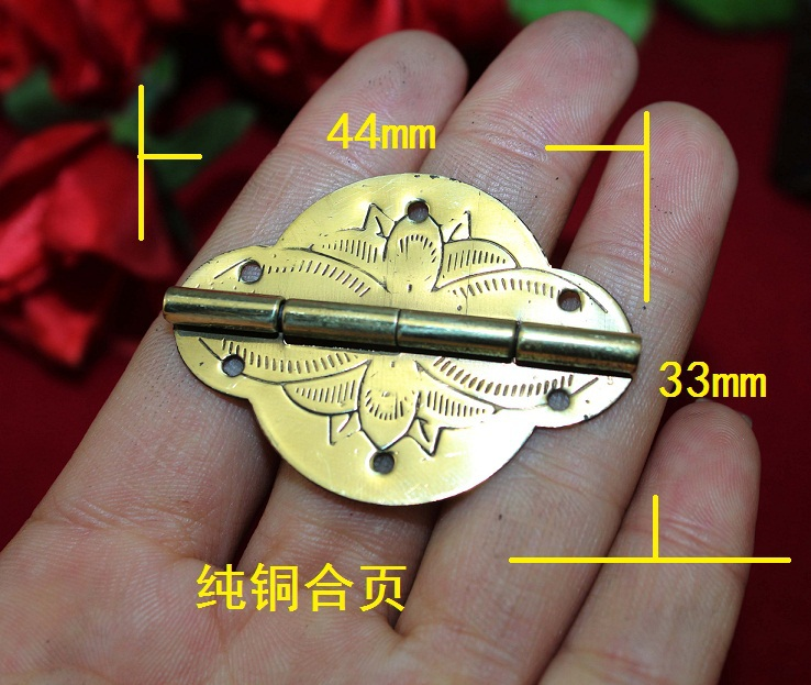 2014 Wholesale Hardware Furniture accessories Vintage Brass Wooden Gift Jewelry box hinges Cabinet hinge 20pcs/lot Freeshipping(China (Mainland))