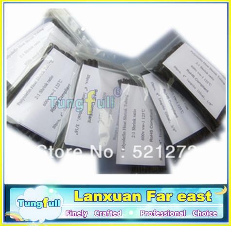 6 Sizes Heat Shrink Tubing black Colors 210pcs High quality Polyolefin Heat-Shrink Tube kits Insulating sleeve set(China (Mainland))