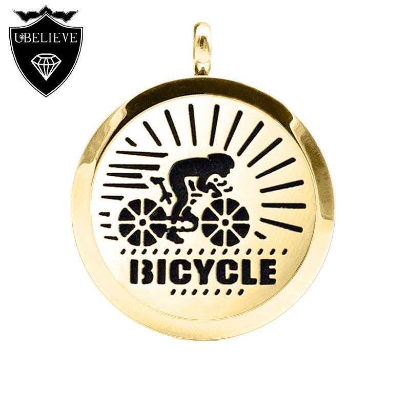 Hot Fashion 2016 New Bicycle 316L Stainless Steel Perfume Locket 20mm/25mm/30mm Essential Oil Diffuser Locket Pendant Necklace(China (Mainland))