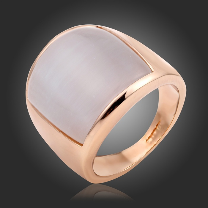 Unisex Size #7.5 9 Top Quality Gifts Rectangle Opal Moonstone Cocktail Thumb Ring Women Men Finger Jewelry 18K Rose Gold Plated(China (Mainland))