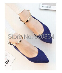 2014 Pointed Toe Shoes New Fashion Style Women Ballerinas Single Ballet Buckle Strap Blue Black - Fashion-Show store