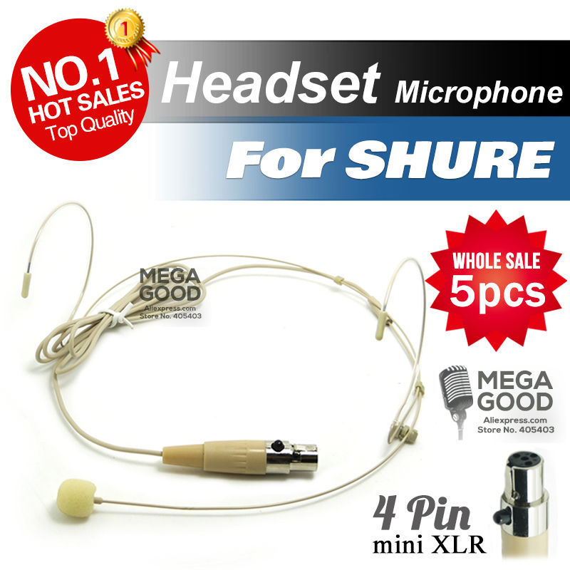 Free Shipping! 5pcs Condenser Headworn Headset Microphone with Mini 4 Pin XLR TA4F plug for Shure Wireless BodyPack Transmitter(China (Mainland))