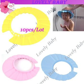 10Pcs/Lot Foam Soft Child Kid Shampoo Bath Shower Wash Hair Shield Cap Hat ,Yellow / Pink / Blue Drop Shipping 4478
