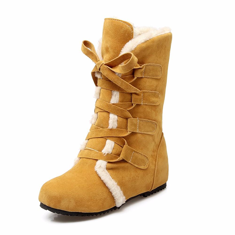 ซื้อ 2016ผู้หญิงแฟชั่นใหม่รองเท้าหิมะอบอุ่นหนาเพิ่มขึ้นด้วยลาดลูกไม้ขึ้นในช่วงฤดูหนาวรองเท้าขนาดบวก