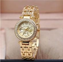 Oro mujeres marca de lujo caliente ginebra Ladies relojes de pulsera regalos para la muchacha completa Rhinestone del acero inoxidable reloj de cuarzo