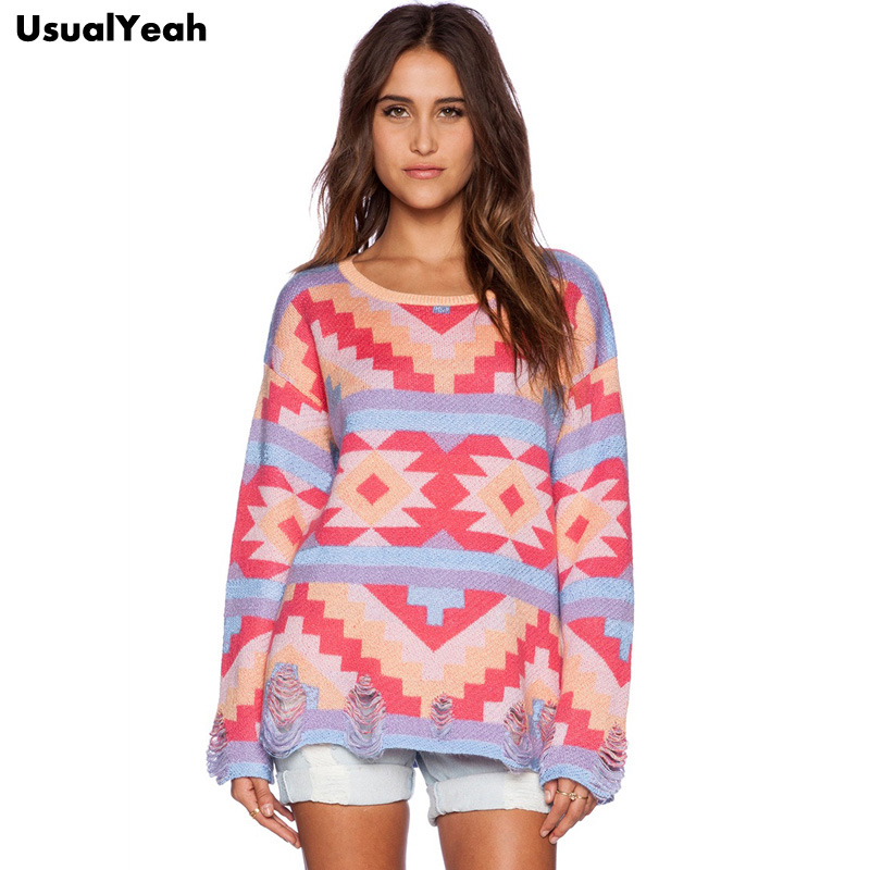 2015 Fashion Color Block Long Sleeve Sweater Casual Pull Femme Geometric Pattern Winter Sweaters and Pullovers Hollow Out Hem(China (Mainland))