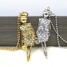 2016 Новая Мода Сладкий Девочек золото серебро Кукла Подвеска Длинное Ожерелье Кристалл Ювелирные Изделия Аксессуары для Женщин Ребенок freeshipping(China (Mainland))