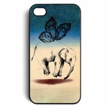 Cute flying Elephant with Wing mobile protective phone case for iphone 4S 5S 5C retail drop shipping