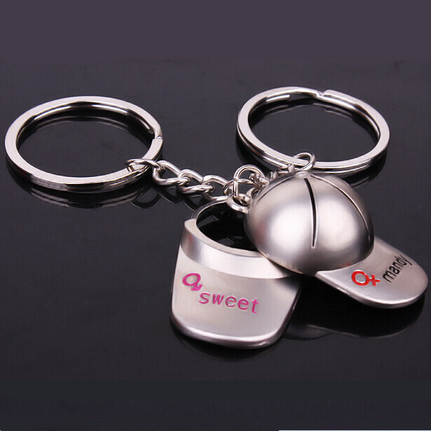2PCS The New Creative Baseball Tennis Sun Hat Couple Alloy Key Chain Men And Women's Sweet Letter Jewelry Package Pendant Gift(China (Mainland))