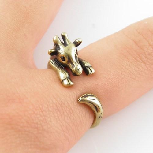 Giraffe Animal Wrap Ring - Bronze