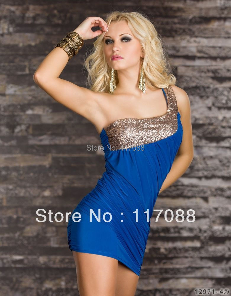 Free Shipping ML17703 Newly Arrival Blue color dress One Shoulder fashion Dress Sexy Lady Clubwear(China (Mainland))