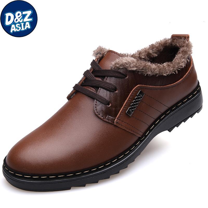 Men's male leather thermal commercial genuine leather casual shoes male leather shoes lacing plus velvet winter cotton-padded