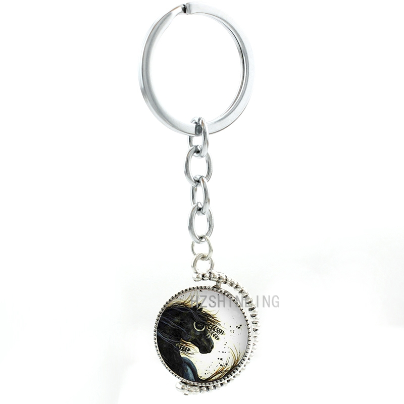 Double sides rotatable Majestic Mustang Horse keychain vintage black horse wild animal pendant key chain ring holder women T722(China (Mainland))