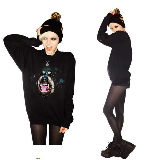 Women Chic Dog Head Rottweil Print Sweatshirts Womens Pullovers S M L(China (Mainland))