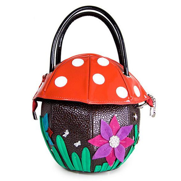 Personality Cute Mushroom Pattern Beautiful Flower Bags Handbags Women Famous Brands Designer PU Leather Tote Shoulder Bags<br><br>Aliexpress