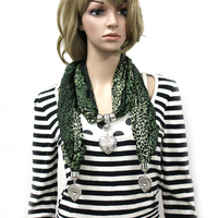 Gorgeous 100% 2013 new arriving printing leopard scarf autumn and winter heart pendant scarf cape female