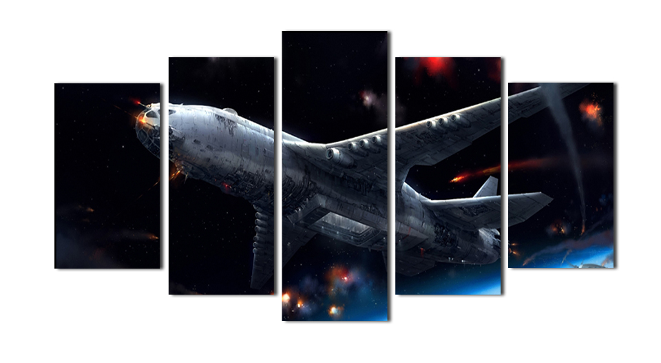 5 pcs canvas painting The Picture Military Pictures space Plane Fighter Take Off In Storm Night Print On CanvasWall Art MS0049(China (Mainland))