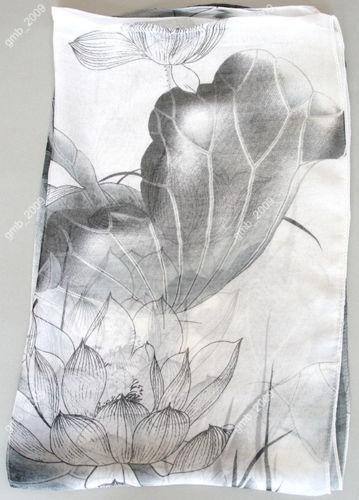 "62*20"" Pretty New Summer Spring Women's gray Georgette Lotus Flora Thin Beach Scarf(China (Mainland))"