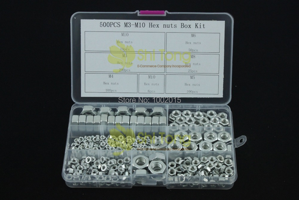500pcs Hex Nuts Metric with different size and Plastic Box for Free Shipping(China (Mainland))