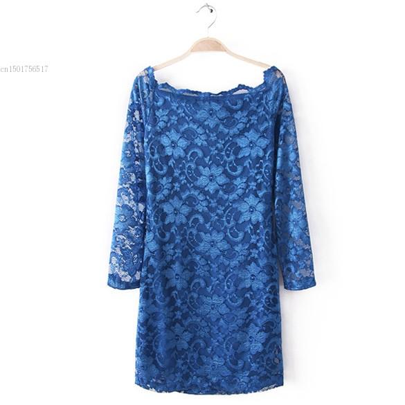 Korea Women's Lace Charming Wave Slash Collar Off-shoulder Mini Dress Party Dress(China (Mainland))