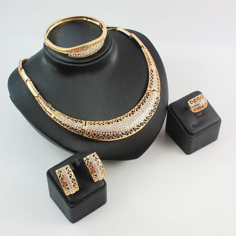 Африканский ювелирных изделий прекрасно свадебный позолоченные горный хрусталь колье ну вечеринку женщин мода свадебные кольца браслет серьги аксессуары