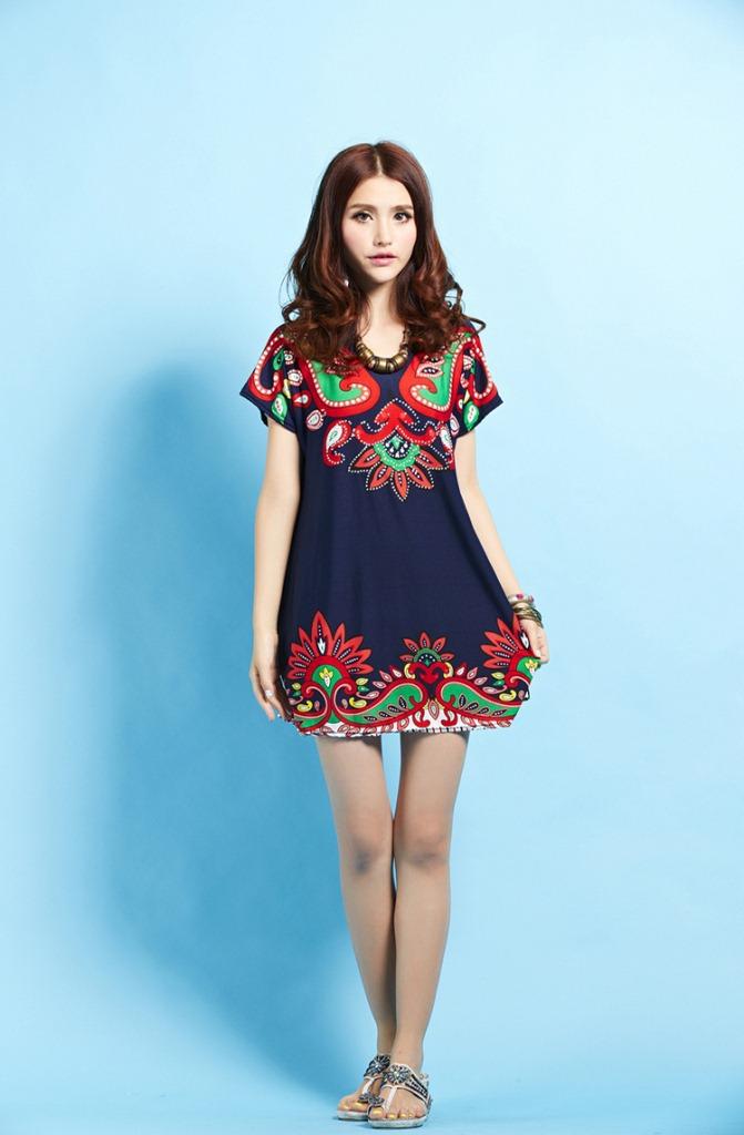 Plus Size Casual Sexy Cute Women Dress Print Novelty Lady Day Dress Vintage Big Large XXXL XXXXL New Fashion(China (Mainland))