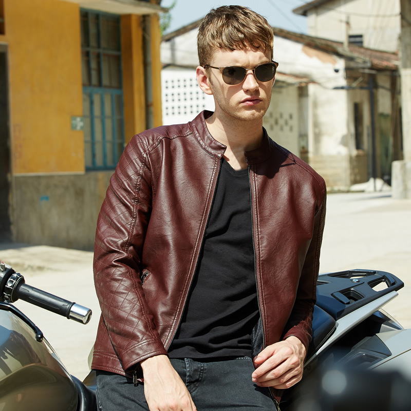 Brown Leather Jacket Mens PU Leather Motorcycle Slim Young Italian Imported Leather Stand Collar Jackets Man High QualityОдежда и ак�е��уары<br><br><br>Aliexpress